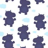Hippopotame mignon dans le style de bande dessinée Configuration Photo stock