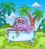 Hippopotame mignon prenant le bain de boue Photographie stock