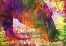 Hippopotame sur le grunge Photographie stock libre de droits
