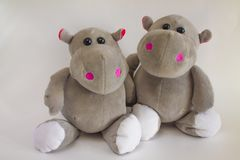 Hippopotames de jouet Photos libres de droits