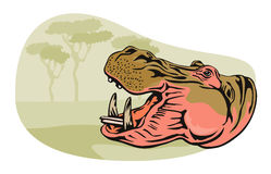 Hippopotamus. Vector art of a hippopotamus with a background of trees stock illustration