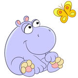 Hippopotamus and butterfly stock illustration