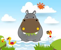 Hippopotamus cartoon with little friends in the swamp. Vector cartoon illustration, no mesh, eps 10 royalty free illustration