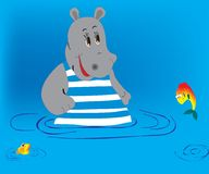 Hippopotamus e peixes ilustração royalty free