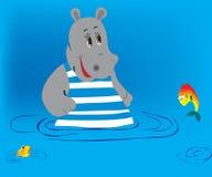 Hippopotamus and fish Stock Photo