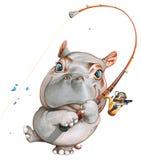 A hippopotamus fishing Stock Photos