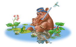 The hippopotamus and frog. The hippopotamus sits in water and scaredly looks at a frog Stock Image