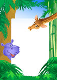 Hippopotamus and giraffe on background frame Stock Image