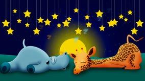 Hippopotamus and giraffe cartoon sleeping together