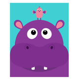 Hippopotamus head facelooking up to bird. Cute cartoon character hippo with tooth. Violet behemoth river-horse icon. Baby animal c Stock Photos