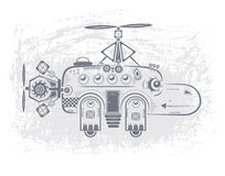 Hippopotamus helicopter. Baby hippo toy helicopter with two propellers and wheels vector illustration