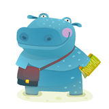 Hippopotamus Kid Student with Book and Bag Going to School Royalty Free Stock Photo
