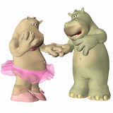 Hippopotamus in Love. A couple of hippopotamus in love Royalty Free Stock Images