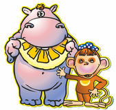 Hippopotamus &  monkey Stock Images