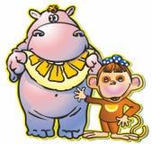 Hippopotamus & monkey. Hippopotamus eating citrus lemon orange mandarin grapefruit monkey monkey tail forelock bow stock images