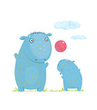 Hippopotamus parent playing ball with a child Stock Photography