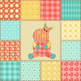 Hippopotamus patchwork pattern. Hippopotamus. Vintage patchwork seamless pattern. Cartoon background Royalty Free Stock Photography