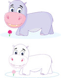 Hippopotamus, river-horse, behemoth. cartoon. colo Royalty Free Stock Photos