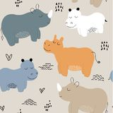 Hippopotamus seamless pattern. childish Vector illustration for fabric, textile, clothes, wallpaper, stock illustration
