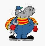 Hippopotamus. The symbolic image of a hippopotamus, who is engaged in repair Stock Photos