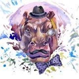 Hippopotamus T-shirt graphics. hippopotamus illustration with splash watercolor textured background. unusual illustration watercol Royalty Free Stock Image
