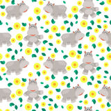 Hippos cartoon vector seamless pattern. Royalty Free Stock Photo