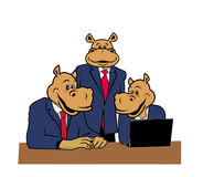 Hippos in office 8. Three hippos in office at a desk with a laptop Royalty Free Stock Photography