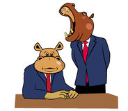 Hippos in office 2. Two hippos in office at a desk Stock Images