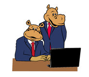 Hippos in office 1. Two hippos in office at a desk with a laptop Stock Photos