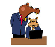 Hippos in office 6. Two hippos in office at a desk with a laptop Royalty Free Stock Images