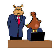 Hippos in office 7. Two hippos in office at a desk with a laptop Royalty Free Stock Image