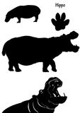 Hippos in silhouette. Collection of hippos on white background in black silhouette. Also included a hippo track Stock Photo