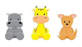 Hippotamus Giraffe Wallaby Doll Set Cartoon. Cute animal dolls collection EPS10 file format Royalty Free Stock Images
