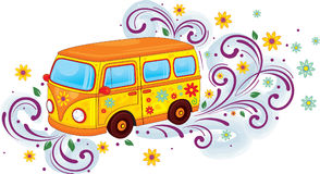 Hippy bus. Funny hippy bus in the ornament vector illustration