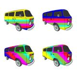 Hippy bus with rainbow aerography vector drawing royalty free stock images