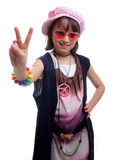 Hippy Chick. Young girl dressed in 60's style as a hippie chick Royalty Free Stock Image