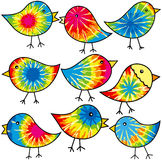 Hippy Chicks. Nine colorful tie-dyed chicks for your designs Royalty Free Stock Photo