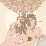 Hippy couple under apple tree. Couple of a hippy on a sunny afternoon, vector illustration stock illustration