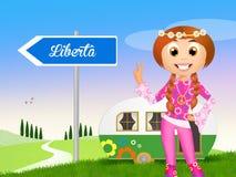 Hippy girl. Funny illustration of hippy girl with caravan vector illustration