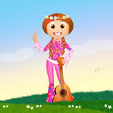 Hippy girl with guitar Royalty Free Stock Image