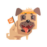 Hippy Little Pet Pug Dog Puppy With Collar Holding Flag With Peace Symbol Emoji Cartoon Illustration Royalty Free Stock Photography