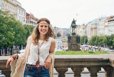 Hippy-looking woman tourist standing on Wenceslas Square, Prague Stock Photos