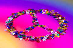 Hippy peace sign made of rainbow stars. Symbol of peace made up of colorful stars Stock Photo