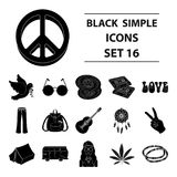 Hippy set collection icons in black style vector symbol stock illustration. Bird, hemp, leaf and other hippy equipment. Hippy set collection icons in black Royalty Free Stock Photo