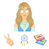 Hippy set collection icons in vector symbol stock. Amulet, hippie girl, freedom sign, old cassette.Hippy set collection icons in vector symbol stock illustration Royalty Free Stock Photography