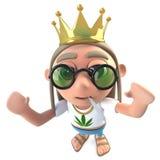 hippy stonertecken för rolig tecknad film som 3d bär en guld- krona stock illustrationer