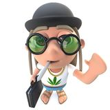 hippy stonertecken för rolig tecknad film som 3d bär en plommonstop och bär en portfölj vektor illustrationer