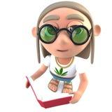 hippy stonertecken för rolig tecknad film som 3d läser en bok stock illustrationer