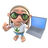 hippy stonertecken för rolig tecknad film som 3d rymmer en bärbar datordator royaltyfri illustrationer