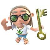 hippy stonertecken för rolig tecknad film som 3d rymmer en nyckel- symbolisera framgång för guld royaltyfri illustrationer